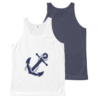Nautical White & Blue Anchor All-Over-Print Tank Top