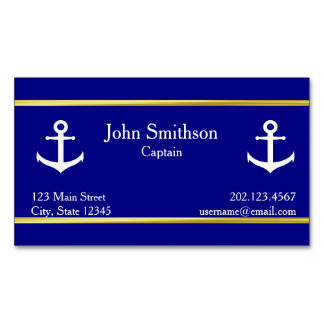 Nautical White Boat Anchors on Navy Blue Magnetic Business Card