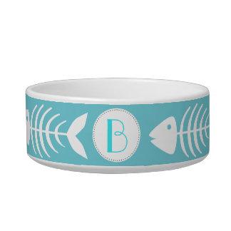 Nautical White Fish Bones in Cyan Blue Bowl