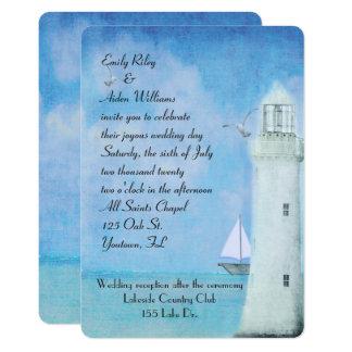 Nautical White Lighthouse and sailboat wedding Card