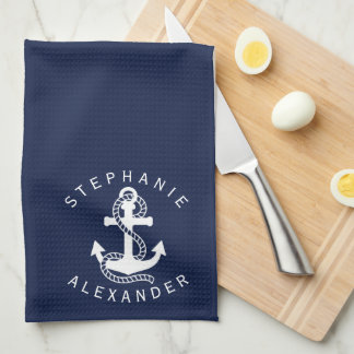 Nautical White Navy Blue Anchor {pick your color} Kitchen Towel