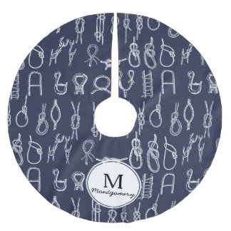 Nautical White Rope Knots & Navy Blue Family Name Brushed Polyester Tree Skirt