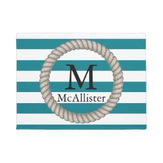 Nautical White Rope White Stripes Personalized Doormat