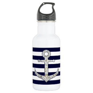 Nautical white rose anchor 532 ml water bottle