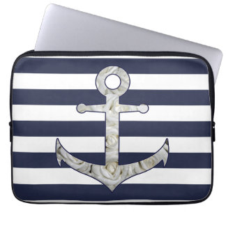 Nautical white rose anchor computer sleeves