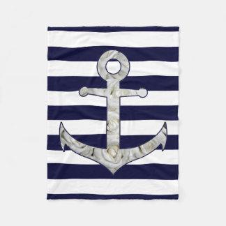 Nautical white rose anchor fleece blanket