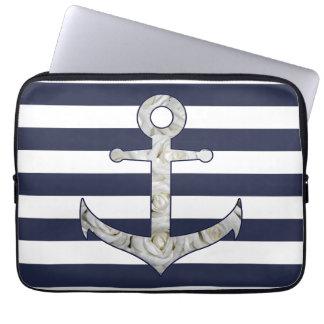 Nautical white rose anchor laptop sleeve