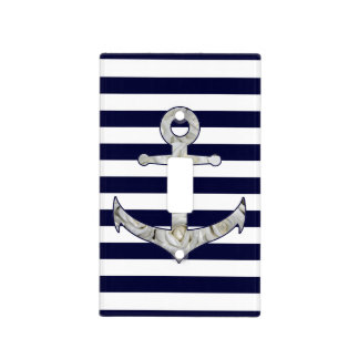 Nautical white rose anchor light switch cover
