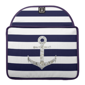 Nautical white rose anchor MacBook pro sleeves