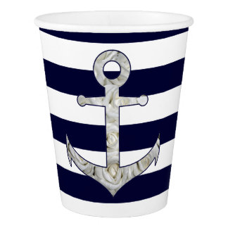 Nautical white rose anchor paper cup