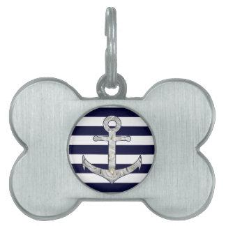 Nautical white rose anchor pet name tag