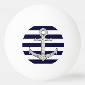 Nautical white rose anchor ping pong ball