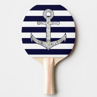 Nautical white rose anchor ping pong paddle