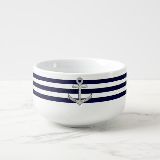 Nautical white rose anchor soup mug