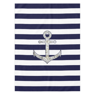 Nautical white rose anchor tablecloth