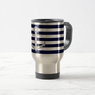 Nautical white rose anchor travel mug