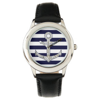 Nautical white rose anchor wrist watch