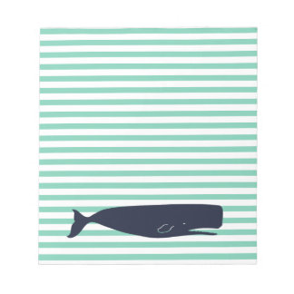 Nautical White Stripes and Navy Whale Notepad