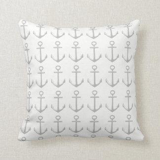 nautical white throw pillow