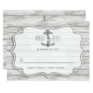 "Nautical Whitewashed Wood Beach Wedding Collection 3.5"" X 5"" Invitation Card"