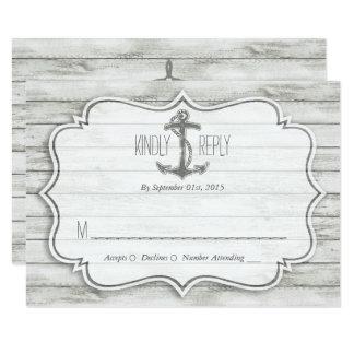 "Nautical Whitewashed Wood Beach Wedding Collection 3.5"" X 5"" Invitation Card"