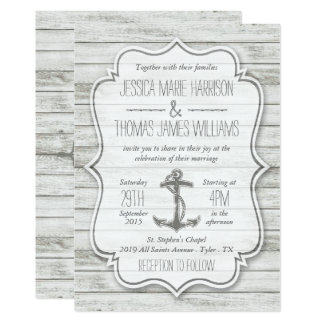 "Nautical Whitewashed Wood Beach Wedding Collection 5"" X 7"" Invitation Card"
