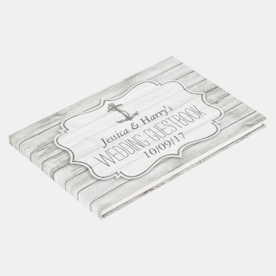 Nautical Whitewashed Wood Beach Wedding Collection Guest Book