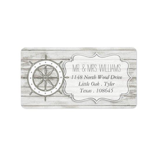 Nautical Whitewashed Wood Beach Wedding Collection Label