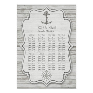 Nautical Whitewashed Wood Beach Wedding Collection Poster