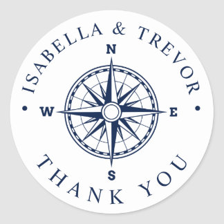Nautical Wind Compass White | Navy Thank You Classic Round Sticker