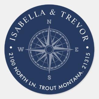 Nautical Wind Rose Compass Return Address Classic Round Sticker