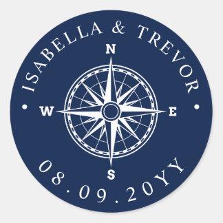 Nautical Wind Rose Compass Wedding Date Classic Round Sticker