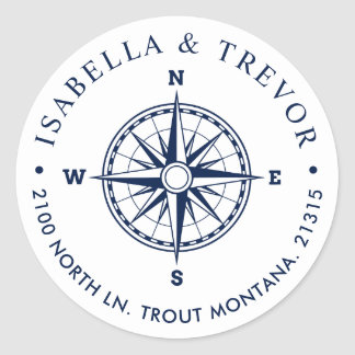 Nautical Wind Rose Compass White Return Address Classic Round Sticker