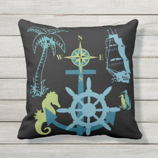 Nautical Yacht Boating Palm Tree Sea Horse Anchor Throw Pillow