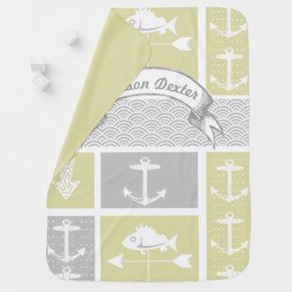 Nautical Yellow and Gray Anchor Fish Weather Vane Baby Blanket