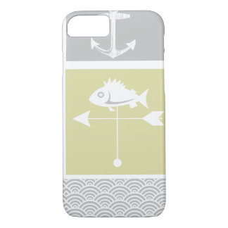 Nautical Yellow and Gray Anchor Fish Weather Vane iPhone 7 Case