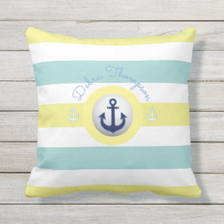 nautical yellow & blue striped throw pillow