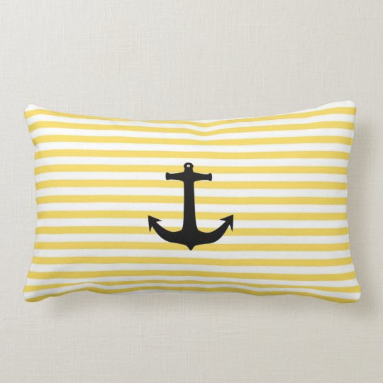 Nautical Yellow Stripe With Anchor Lumbar Pillow