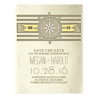 Nautical yellow vintage save the date postcards