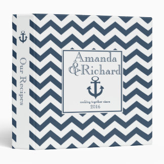 Nautical Zig Zag Pattern Navy Blue Binder