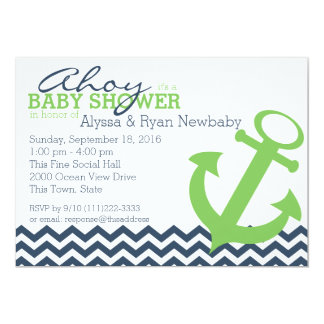 Nautical Zigzag Anchor Baby Shower Card