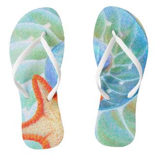 Nautilus And Starfish Flip Flops