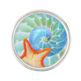 Nautilus And Starfish Lapel Pin