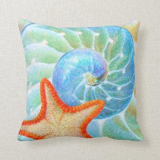 Nautilus And Starfish Throw Pillow