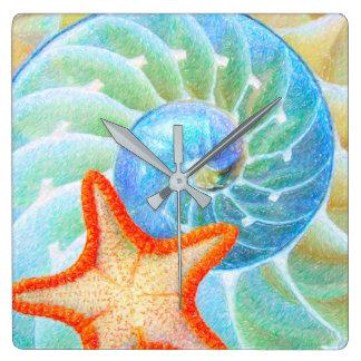 Nautilus And Starfish Wallclocks
