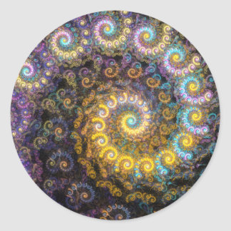 Nautilus fractal beauty classic round sticker
