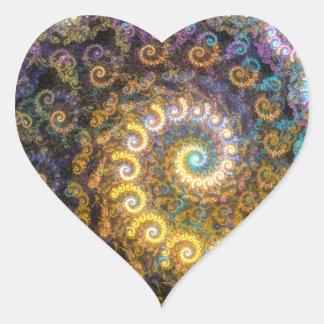 Nautilus fractal beauty heart sticker
