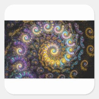 Nautilus fractal beauty square sticker
