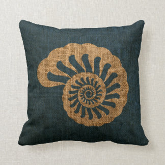 Nautilus Sea Shell in Rustic Deep Blue Throw Pillow
