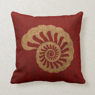 Nautilus Sea Shell in Rustic Nautical red Throw Pillow